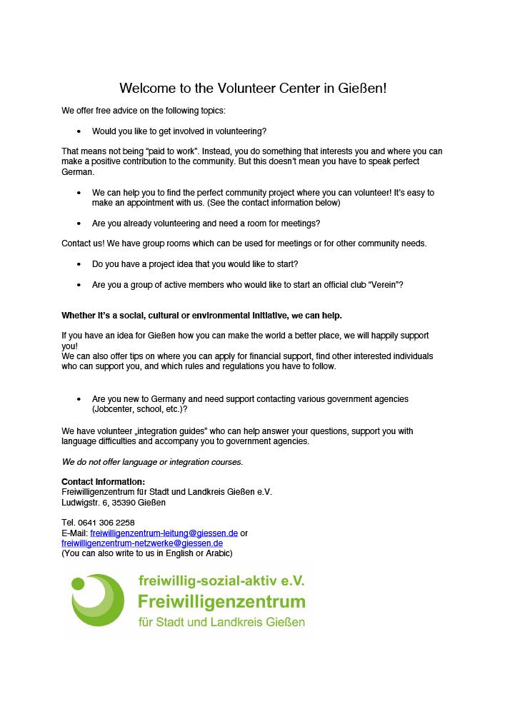 Herzlich willkomen im Freiwilligenzentrum Giessen - englische Version