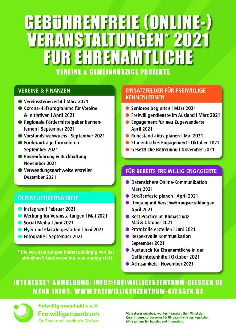Freiwilligenzentrum Gießen Übersicht Weiterbildungen für Ehrenamtliche 2021